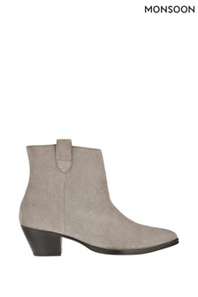 Monsoon Grey Western Suede Ankle Boots
