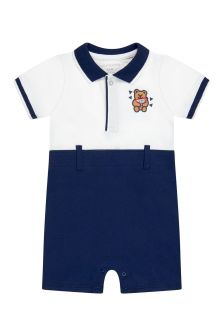 Guess Baby Boys White Cotton Shortie Romper