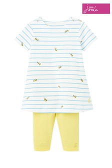 Joules Blue Christina Organically Grown Cotton Dress And Leggings Set