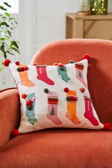 Pom Pom Stocking Christmas Cushion