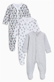 企鹅图案连体睡衣三件装 (0-12 个月)
