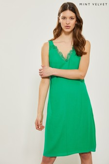Mint Velvet Sea Green Lace Cocoon Dress