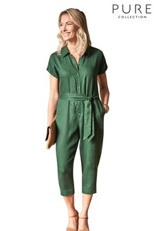 Pure Collection Green Linen Collared Jumpsuit