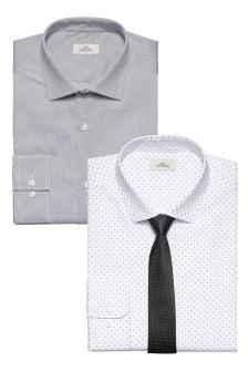 Komplet dwóch koszul o obcisłym kroju z krawatami