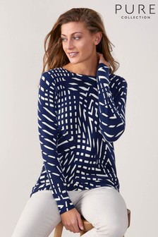 Pure Collection Blue Cashmere Boyfriend Sweater