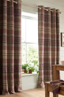 Elsworth Woven Check Eyelet Curtains