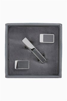 Cufflinks And Tie Clip Set