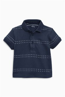 Short Sleeve Stitch Stripe Polo (3mths-6yrs)