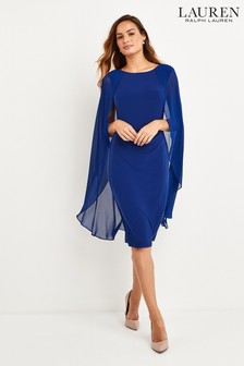 Lauren Ralph Lauren Parisian Blue Hopelee Caped Dress