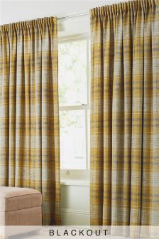 Astley Check Pencil Pleat Blackout/Thermal Curtains