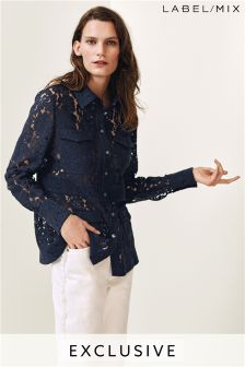 Mix/Kitri Studio Navy Lace Shirt Jacket