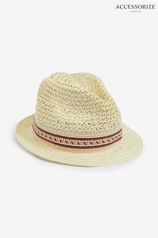 Accessorize Nude Roma Crochet Braid Trilby Hat