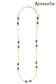 Accessorize Black Monochrome Links Rope Necklace