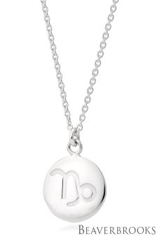 Beaverbrooks Silver Capricorn Disc Necklace