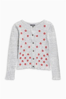 Embroidered Ribbed Cardigan (3-16yrs)