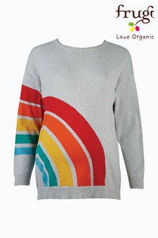 Frugi Organic Cotton Grey Rainbow Split Back Jumper