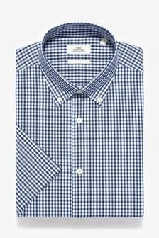 Easy Iron Slim Fit Short Sleeve Check Shirt