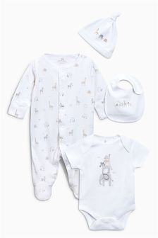Delicate Embroidered Sleepsuit, Short Sleeved Bodysuit, Bib And Hat (0-6mths)
