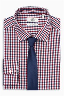 Gingham Regular Fit Shirt With Tie Set
