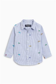 Stripe Bug Embroidered Shirt (3mths-6yrs)