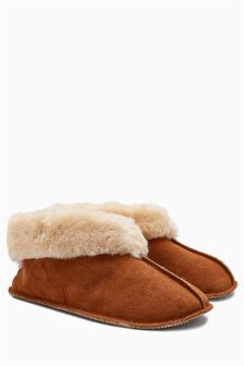 Suede Low Cut Slipper Boots