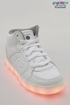 Skechers® Kids White Energy Lights Leather Lace Up