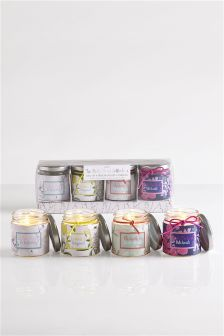 Set of 4 Floral Fragranced Candles