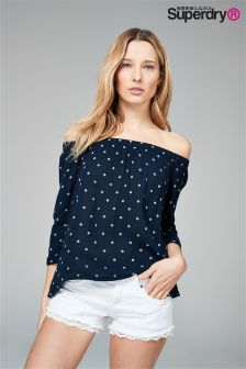 Superdry Navy Geo Spot Off Shoulder Top