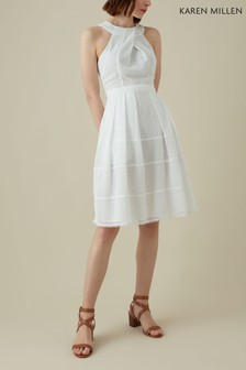Karen Millen White Panelled Broderie Dress