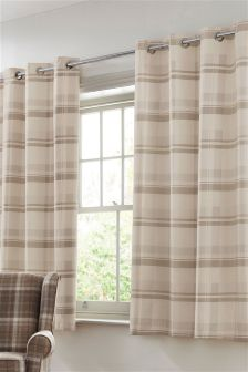 Natural Check Blackout Lined Eyelet Curtains