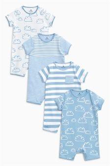云朵印花连衫裤四件装 (0个月-2岁)