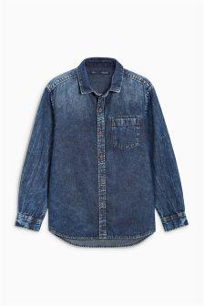 Long Sleeve Dark Wash Shirt (3-16yrs)