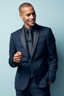 Slim Fit Textured Tuxedo Suit