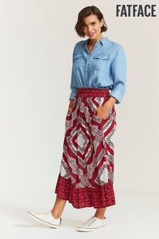 FatFace Alessia Batik Placement Midi Skirt