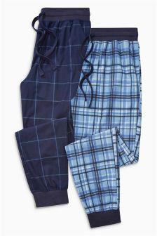 Bequeme Pyjama-Hose mit Bündchen und Karomuster, 2er-Pack