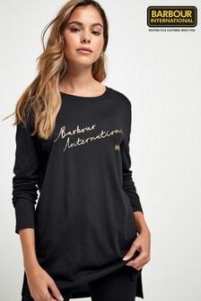 Barbour® International Exclusive Black Metallic Logo Jersey Top
