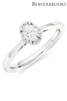 Beaverbrooks 18ct White Gold Diamond Oval Shaped Halo Ring