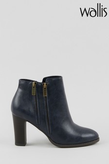 Wallis Asuma Navy Double Zip Ankle Boots