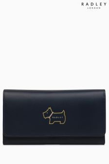 Radley Ink Navy Heritage Dog Outline Large Flapover Matinee Purse