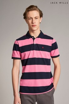 Jack Wills Pink/Navy Ilchester Stripe Polo