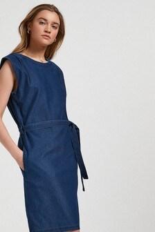 Shoulder Pad Jersey Denim Dress