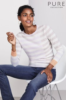 Pure Collection Grey Cashmere Patterned Sweater