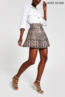 River Island Brown Print Chain Pleat Mini Skirt