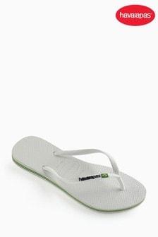 Havaianas® White Slim Brasil Logo Flip Flop