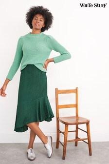 White Stuff Green Kanako Midi Skirt