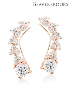 Beaverbrooks Silver Rose Gold Plated Cubic Zirconia Earring Climbers