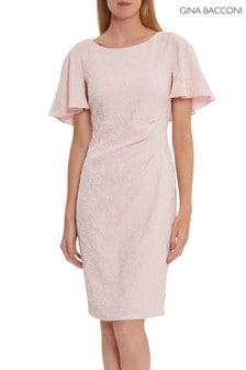 Gina Bacconi Pink Sahar Embossed Floral Jacquard Dress