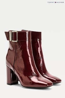 Tommy Hilfiger Red Patent Square Toe Boots