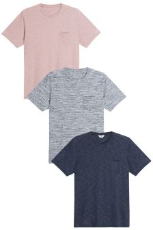 Colour Textured T-Shirts Three Pack