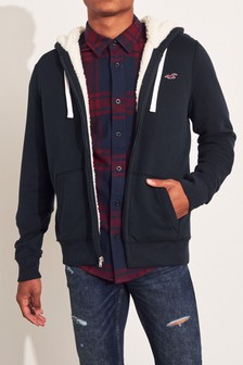 Hollister Navy Sherpa Zip Through Hoody